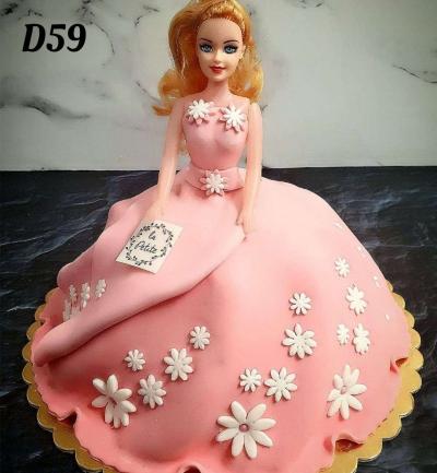 Tort Lalka rózowa sukienka