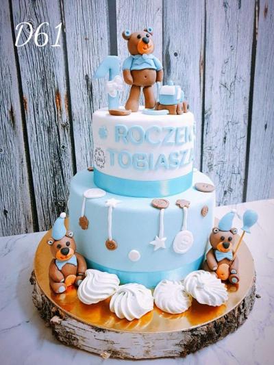 Tort dziececy- urodzinowy- piętrowy misie