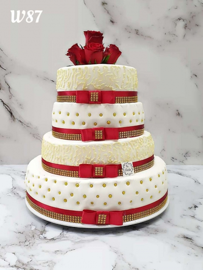 Tort styl angielski- złoto-czerwony