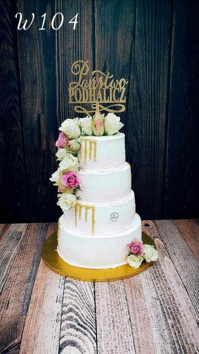Tort weselny Drip Cake w wersji glod