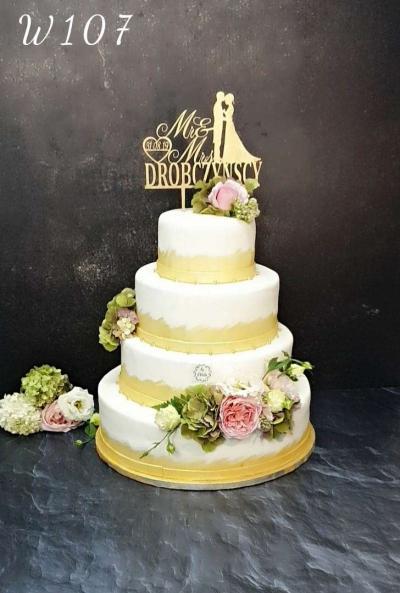 Tort weselny - złocony