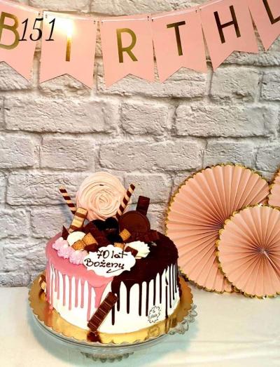 5.Tort Drip cake dwukolorowy