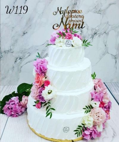 W119_Tort weselny - kwiatowy czar