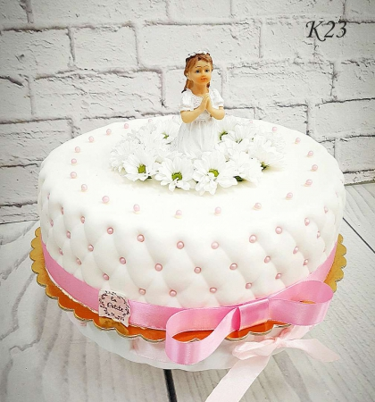Tort komunijny w masie ticino z figurką