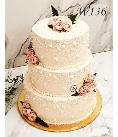 Tort weselny - Perłowy blask