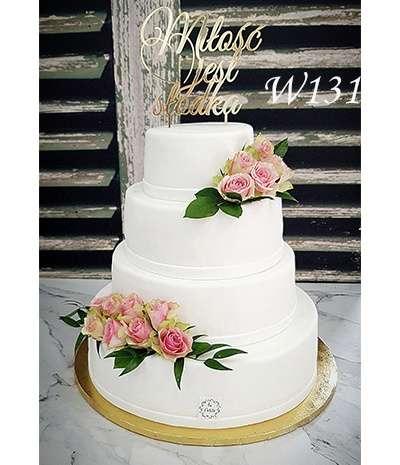 Tort weselny styl angielski-Różana miłość