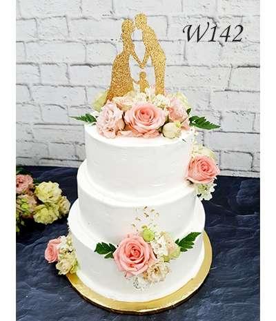 Tort weselny z elementami złota jadalnego
